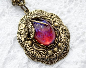 Dream Weaver Pendant - Dragons Breath Mexican Glass Opal in Layered Brass