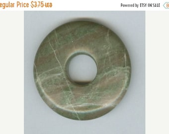 CLEARANCE 40mm Green Lined Jasper PI Donut Pendant 8401