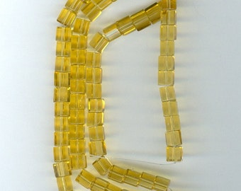 4mm Yellow Cube 4mm Yellow Glass Cube Spacer Beads 15 inch Strand Bead Spacers