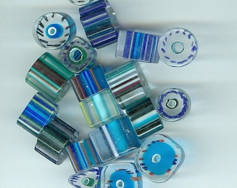 Set 22 Shades of Blue Glass Beads Mixed sizes and shapes 1152