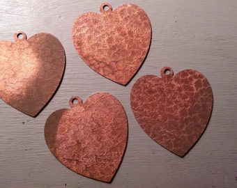 Oversized Coppery Textured Heart Vintage Pendant Base Finding LOT B