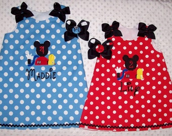 Red or Blue Minnie Polka Dot Mickey Mouse Clubhouse Applique Monogram A-line Dress - Age Number - Birthday Party