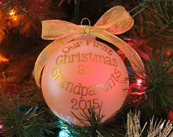 "4"" Glass First Christmas as Grandparents/Grandma/Grandpa 2017"