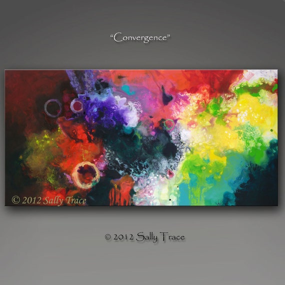 "Giclee print on canvas from my original abstract fluid painting ""Convergence"" 24x48"""