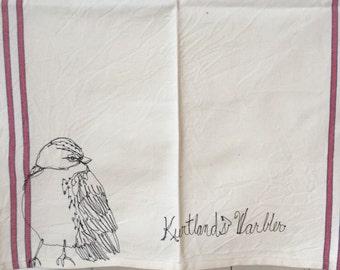 Freehand Machine Stitched  Kurtland  Warbler   Tea towel