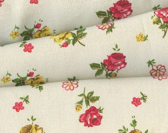 Vintage Yellow and Pink Roses Fabric