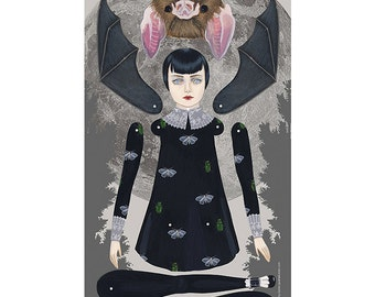 As A Bat paper doll print by Amy Earles