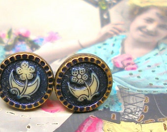 1900s Tiny BUTTON earrings, Victorian Flowers on sterling silver posts. One of a kind jewellery.