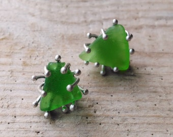 Green Seaglass Earrings, Bottle Green Anemone Earrings, Little Studs with Sea Tumbled Glass