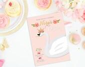 Birthday custom printable invitation card  - Swan Princess