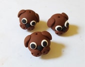 Dog Beads/ Set Of Three/ Polymer Clay/ Handmade Puppy Heads/ Brown Dogs/ Animals/ Animal Beads/Jewelry Supplies/ Crafts/ Beading