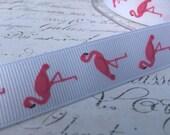 3/4 inch wide Pink Flamingo Grosgrain ribbon