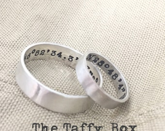 His and Hers Hand Stamped Sterling Bands