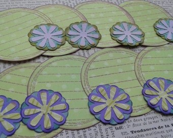 Round Journaling Tags Hand Stamped  Distressed Look Scrapbook Embellishment
