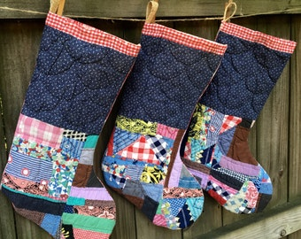 Christmas Stockings - Vintage Quilt Christmas Stockings - Handmade Stocking - Country Farmhouse Farm Style - Red Plaid - Navy Patchwork