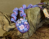 ON SALE Purple beaded pendant necklace with flowers - fairy wedding - romantic gifts - fairy jewelry - gifts for women - faerie necklace