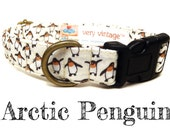 "Arctic White Penguin Winter Dog Collar - Organic Cotton - Antique Brass Hardware - ""Arctic Penguin"""