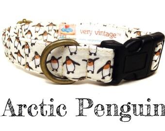 """Arctic White Penguin Winter Dog Collar - Organic Cotton - Antique Brass Hardware - """"Arctic Penguin"""""""