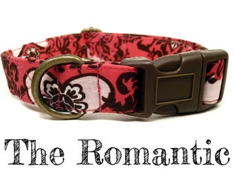 "Salmon Pink Chocolate Brown Damask Hearts Girl Valentine Dog Collar - Organic Cotton - Antique Brass Hardware - ""The Romantic"""