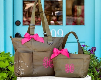 Monogrammed Bookbag and Lunchbox - Personalized Teacher tote and lunch bag, Custom Tote and lunchbox SET, Matching Insulated Cooler and Bag