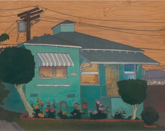 """Teal Bungalow, 5x7"""" Print Mounted on Wood"""