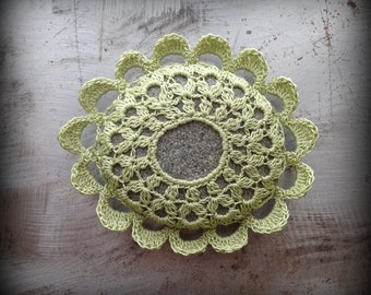 Crochet Lace Stone, Ruffled, Table Decoration, Home Decor, Nature, Handmade, Light Green, Gray, Unique, Gift, Monicaj