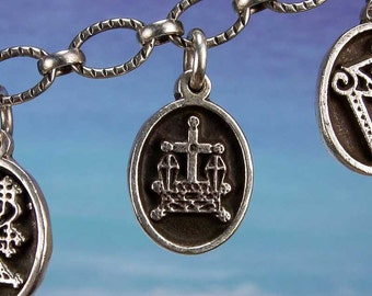 PETITE MEDAL - VOODOO - Baron Samedi Veve Charm Pendant in Sterling Silver, Bronze, 14K Gold