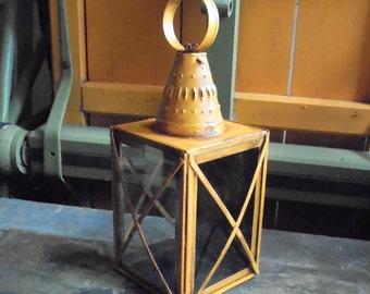 Antiqued mustard tin colonial lantern