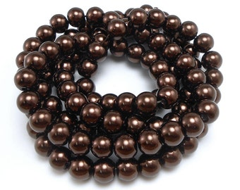 50 Brown 8MM Glass Pearl Beads round (H2176)