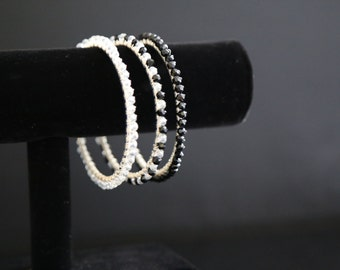 Black and White Bangle Braclets, set of three wire-wrapped faceted bracelets