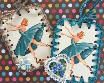 Ballerinas - 2 Crochet Ornaments / Tags / Cards - Recycled Vintage Bridge Tallies