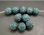 BIG SALE Naos Mykonos Beads Greek Beads Bali Style Ball Bead 6mm Antiqued Copper Green Turquoise Patina