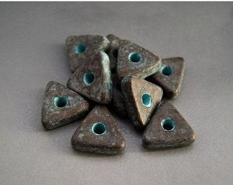 BIG SALE Mykonos Greek Ceramic Beads (10) - Antiqued Green Patina Copper Flat Triangles Spacers - 10mm