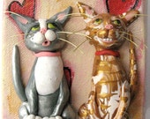 Funny Cat Art - Valentines Day Art - Original Painting with Polymer Clay Cats - Valentines Day Cat - Cat Valentine's Day Gift