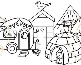 Digi Stamp Instant Download. Home Is Where The Cat Is - Knitty Kitty Digis No. 35