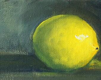 Lemon Still Life, Original Oil Painting, Yellow Citrus Art, Green Minimalist Food, Miniature 3x5 Canvas, Tiny Miniature, Kitchen Wall Decor