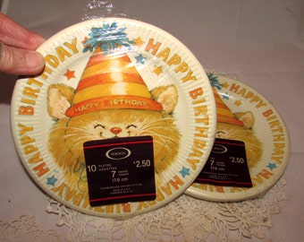 Vintage Norcross Birthday Party Paper Plates with Cute Kitten wearing Party Hat, party supplies, 70s, Unopened Original package, kitty, cat,