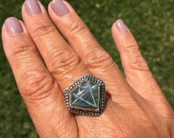 JUMA Jewelry - Diamond Labadorite Ring - From My Bench