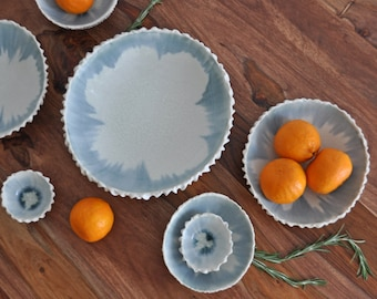 DISCOUNTED - Extra Large Scallop Bowl -  Gray White Serving Bowl Ceramic Bowl Porcelain Bowl