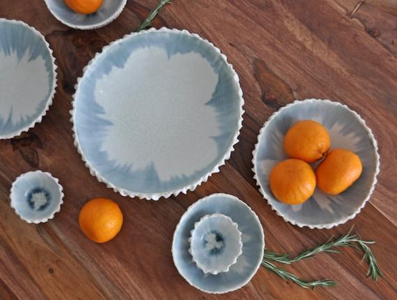 RÉDUIT - pétoncles Extra Large bol - service blanc gris bol bol en céramique porcelaine