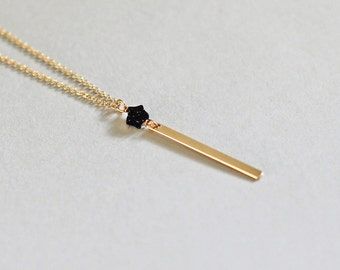 Vertical Gold Bar Necklace, Minimal Gold Necklace, Star Necklace, Tiny Pendant Drop, Starry Night Christmas Necklace