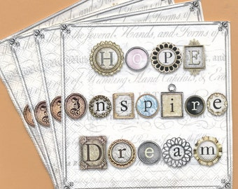 PN141 Paper Napkins by Punch Studio ~ 5x5 or 6.5 x 6.5 or 4.5 x 8 Charms Hope Inspire Dream Set of 4