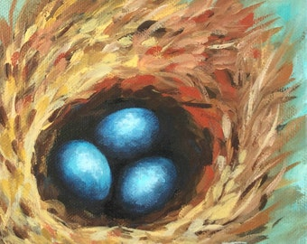 """Robin's Blue Eggs VI 6"""" x 6"""" Original Nest Painting on Gallery Wrapped Canvas by Torrie Smiley"""