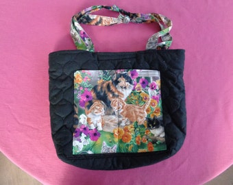 Handmade CATS Quilted Tote Bag