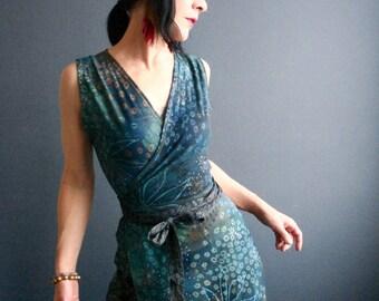 In Time  - iheartfink Handmade Hand Printed Womens Botanical Wearable Art Print Sleeveless Jersey Wrap Dress