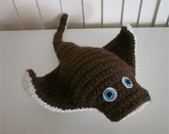 Unique Manta Ray Stuffed toy - Crochet Amigurumi Sealife