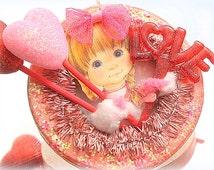 Retro Valentine Ornament Kitschy Heart Decoration Small Valetine Feather Tree Ornie Lorelie Kay Original