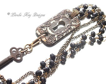 Etruscan Lock & Key Hole Necklace Antique Hardware Assemblage Pendant Shabby Look