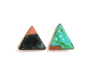 Patina Triangle Stud Earrings