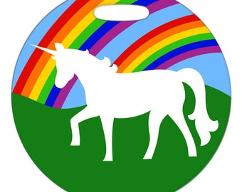 Luggage Tag - Double Rainbow and a Unicorn - 2.5 inch or 4 Inch Round Large Plastic Bag Tag